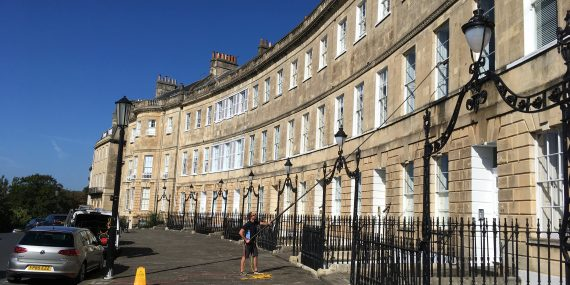 WIndow cleaning in Bath, Lansdown crescent using water fed pole system