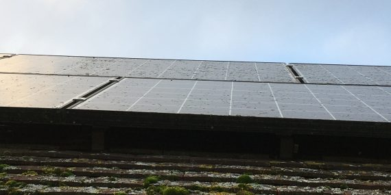 Solar panel cleaning in Wiltshire- before - Omega Window Cleaning